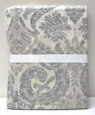 NEW Pottery Barn Samantha Damask Sateen TWIN Duvet Cover~BLUE