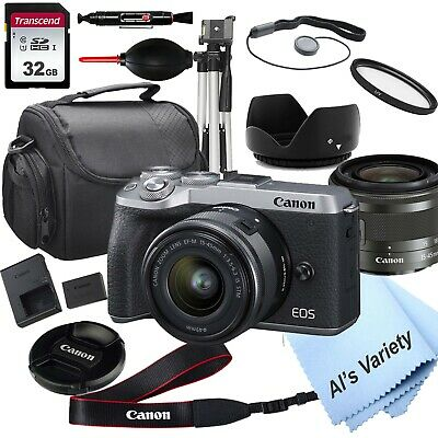 Canon EOS M6 Mark II (Silver) Digital Camera with 15-45mm Lens - 18PC Bundle