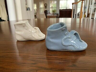 Vintage Porcelain Baby Booties Blue And White Pair
