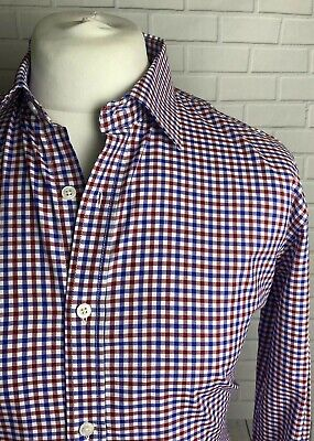 T M LEWIN REGULAR  FIT PINK CHECK SHIRT PURE COTTON DOUBLE CUFF BNWOT