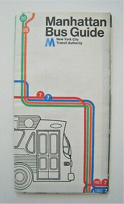 Vintage 1974 Manhattan Bus Map Guide New York City NYC