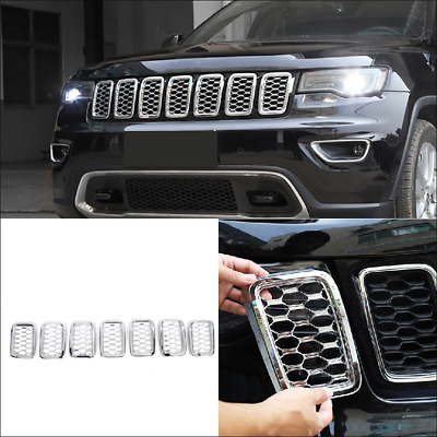 Chrome Front Insert Grille Covers Trim  For 2017-2020 Jeep Grand Cherokee