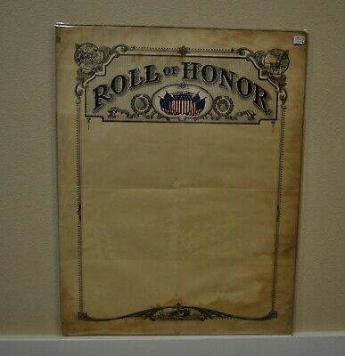 Roll Of Honor Display World War I 1917 -Blank With Colorful Flags
