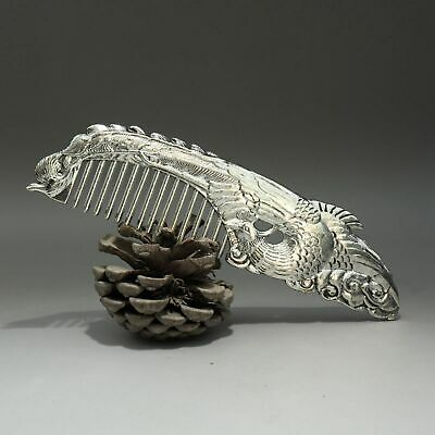 Collectable China Old Miao Silver Hand-Carved Noble Phoenix Delicate Luck Comb
