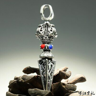 Collectable China Old Miao Silver Hand-Carved Moral Exorcism Delicate Pendant