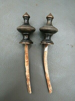 Pair of antique brass clock finials - 3.6 cm high - spares or parts