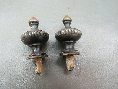Pair of antique brass clock finials - 3.1 cm high - spares or parts