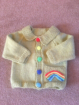 Boys hand Knitted Rainbow Cardigan Age 9months -1 Year