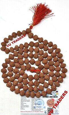 10 Mukhi Rudraksha Mala Ten Face Rudraksh Rosary 109 Bead 13 MM Lab Certified D2