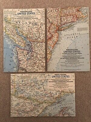 USA MAPS 3 VINTAGE NAT GEOGRAPHIC MAPS NW, N Central & NE  UNITED STATES 1958-60