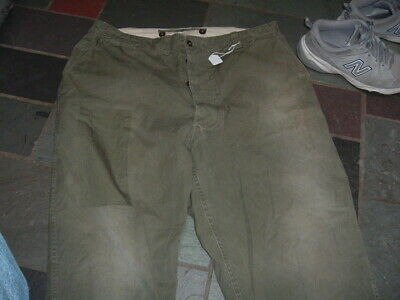 WW2 Men's US Model 1943 Field Trousers 42 waist used  repaired Good for re-enact