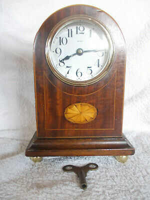 SMALL EIGHT DAY SOLID OAK MANTEL CLOCK, working with key