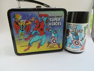Vintage 1976 Marvel Comics Super Heroes Lunchbox And Thermos