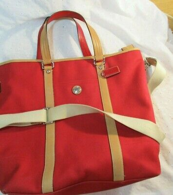 Gorgeous Large Red Canvas & Tan Leather Coach Tote Bag Purse Cross-Body Strap