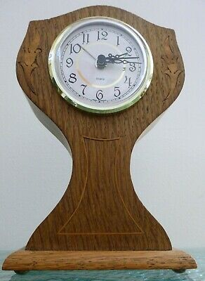 Vintage Small Inlaid Oak Battery Operated West German Mantel Clock