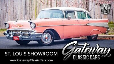 1957 Chevrolet Bel Air/150/210  Canyon Coral & Ivory 1957 Chevrolet Bel Air Sedan 283 C.I.D V8 2 Speed Powerglid