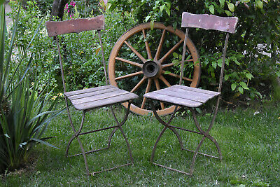 Pair Of Antique Metal & Wood 1930s Folding Garden Chairs