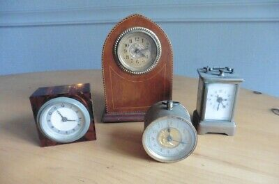 Job Lot Of Four Small Vintage Clocks For Spares Or Repair