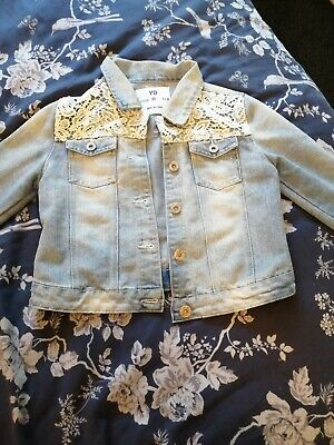 Girls Lace Trim Denim Jacket Age 10-11 Years