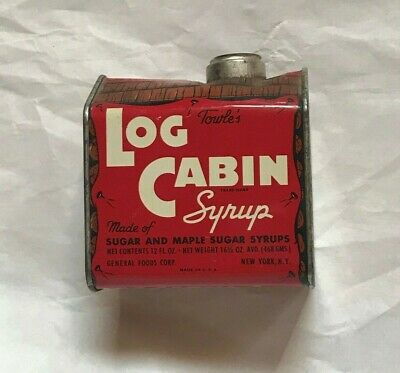Vintage Towle's Log Cabin Maple Syrup Tin Litho Can 16 1/2 Oz