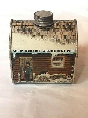 Vintage Vermont Maple Syrup 16.9 Oz Log Cabin Tin  Can