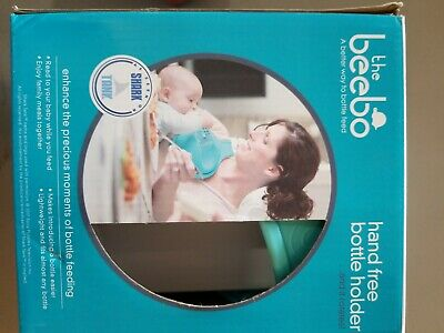 New Beebo Hands Free Newborn Milk Bottle Holder-Teal New Sealed Box