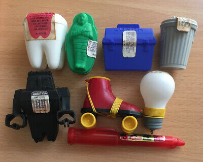 (8) TOPPS Candy Container Lunch Trash Can Mummy Coffin Skate Robotron Big Tooth