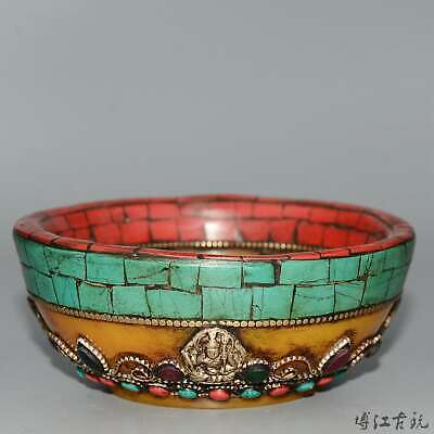 Collectable China Old Amber Inlay Turqyoise Hand-Carved Bloomy Flower Tea Bowl