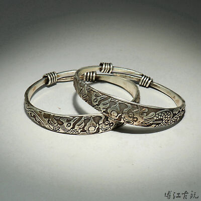 Collectable Old Miao Silver Hand-Carved Myth Dragon & Phoenix A Pair Bracelet
