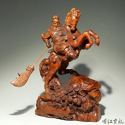 Collect China Old Boxwood Hand-Carved Guan Yu Ride Horse Delicate Decor Statue