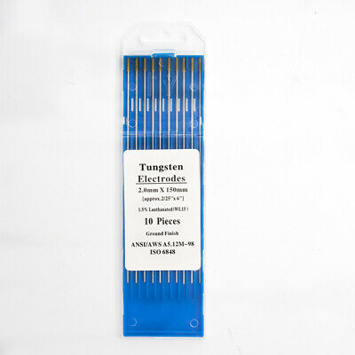 Pk 10 3.2mm x 150mm GOLD TIPPED TUNGSTEN ELECTRODES