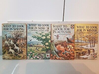 4 Vintage Ladybird What To Look For In Spring..Etc Books Full Set 1 x Dust Cover