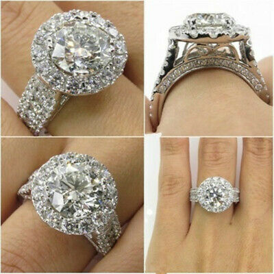 Fashion Round Cut White Sapphire 925 Silver Filled Rings Wedding Ring Size 9