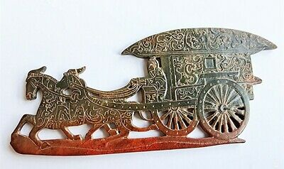 Chinese Exquisite Hand-carved Hetian jade Jade horse pulling cart Statue A