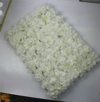 6xArtificial Flower Wall Panels Rose Hydrangea Wedding Background Decor-white
