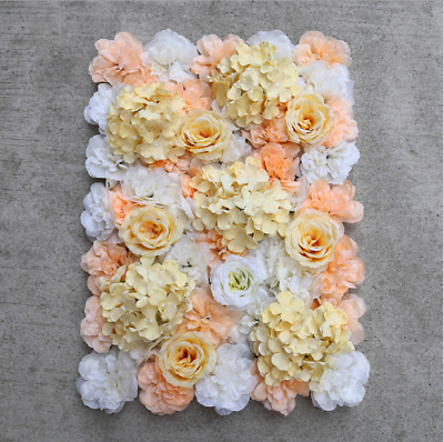 10xChampagne ARTIFICIAL FLOWER ROSE WALL PANEL WEDDING BACKGROUND 60x40cm