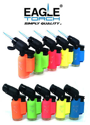 5 Pack Eagle Torch Neon Color 45 Degree Angle Jet Flame Lighter Refillable