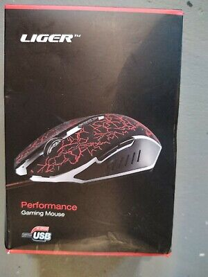 Performance Gaming Mouse Liger 6 Button Wired USB Hi-Speed Illuminating Unused