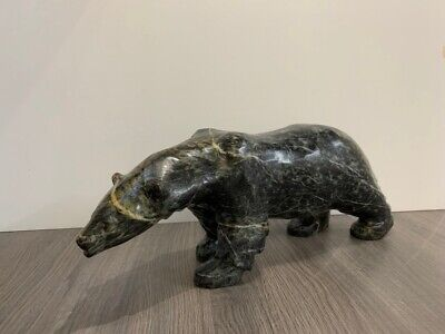 Mark TOTAN Inuit Carving Soapstone Hand Carved Native Eskimo BLACK BEAR Art