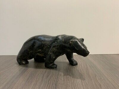 Mark TOTAN Inuit Carving Soapstone Hand Carved Native Eskimo MARBLED BEAR Art