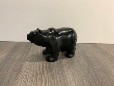 Mark TOTAN Inuit Carving Soapstone Hand Carved Native Eskimo MINI BLACK BEAR Art