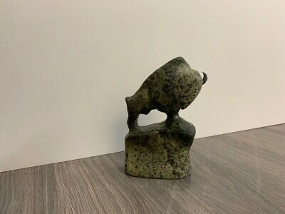 Mark TOTAN Inuit Carving Soapstone Hand Carved Native Eskimo BISON LEGEND Art