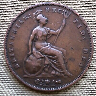 1853 Queen Victoria Penny Coin (F Condition) - Ref 71