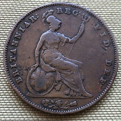 1854 Queen Victoria Penny Coin (F Condition) - Ref 68