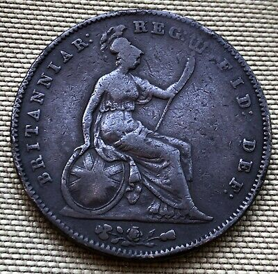 1854 Queen Victoria Penny Coin (F/Vf Condition) - Ref 62