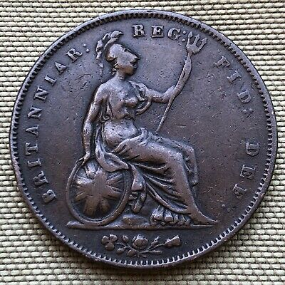 1854 Queen Victoria Penny Coin (Vf Condition) - Ref 72