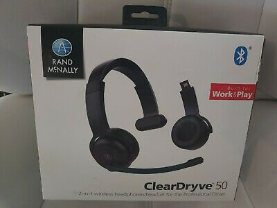 Rand McNally ClearDryve 50 Bluetooth 2in1 Wireless Headphones - New