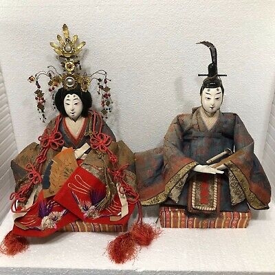 Antique Japanese Hina Dolls Ningyo Large Emperor  And Empress Girl's  Day