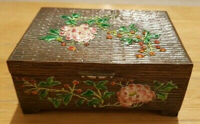 Superb Vintage Chinese Enamel Box Floral / Bamboo Decoration On Copper?