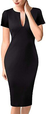VFSHOW Womens Elegant V Neck Business Office Pencil Bodycon Sheath Dress